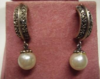 Vintage Sterling Silver Marcasite Half hoop Earrings with Faux Pearls