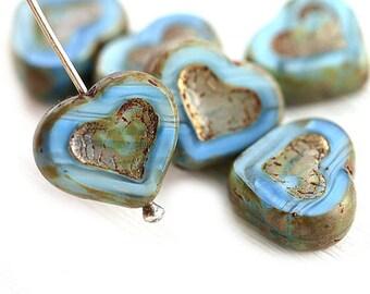 Rustic Blue Heart beads, Picasso czech glass beads, table cut, blue glass heart - 14mm - 6Pc - 0776