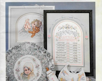 Counted Cross Stitch for Baby, Nursery Decor, Grandparents Personalized List of Grandchildren, Cuddles & Snuggles Stoney Creek Book 71, OOP