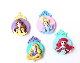 Disney Princess Magnets, Ariel, Belle, Cinderella, Rapunzel, Pushpins/Thumbtacks, Fridge Magnets, Refrigerator Magnets