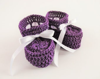 Cotton Crochet Baby Booties, Soft Baby Shoes in Purple,  Gender Neutral Booties 0-3 Month Babies