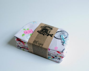 Cloth Wipes Diaper Bag Wipes  Sustainable Unpaper Napkins- Set of 20 -  Double Layer  (Bicycles)
