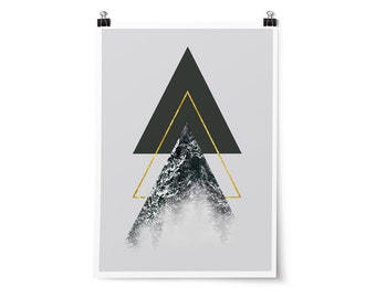 Geometric Wall Art, Mountain Print, Triangles, Gold Triangle, Scandinavian Decor, Minimalist, Printable Poster, Digital Download