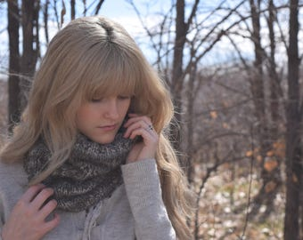 Chunky Knit Cowl Neck Warmer Scarf / Neutral Infinity Scarf, Earthy-Tones Winter Circle Scarf