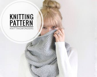 Knitting Pattern | Infinity Scarf Womens Cowl Blanket Scarf / Instant Download PDF Chunky Knit Circle Scarf / Easy Beginner Knit Pattern