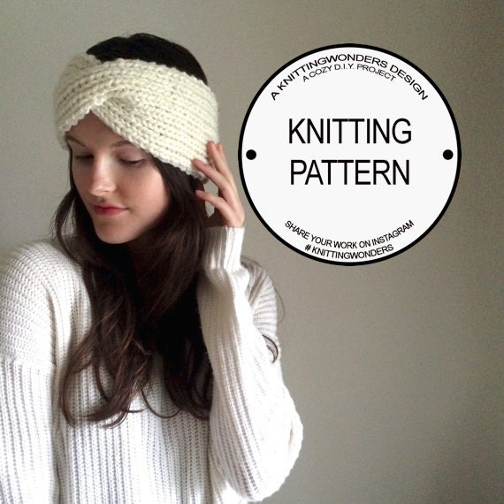 Twisted Headband Knit Pattern : Knitted Twist Turband Headband Pattern / Easy by KnittingWonders