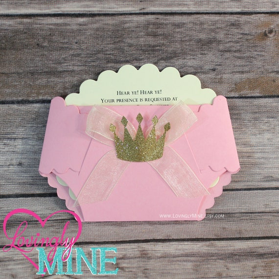 Invitaciones Para Baby Showers Pañal ~ Princess baby shower diaper invitations in pink and