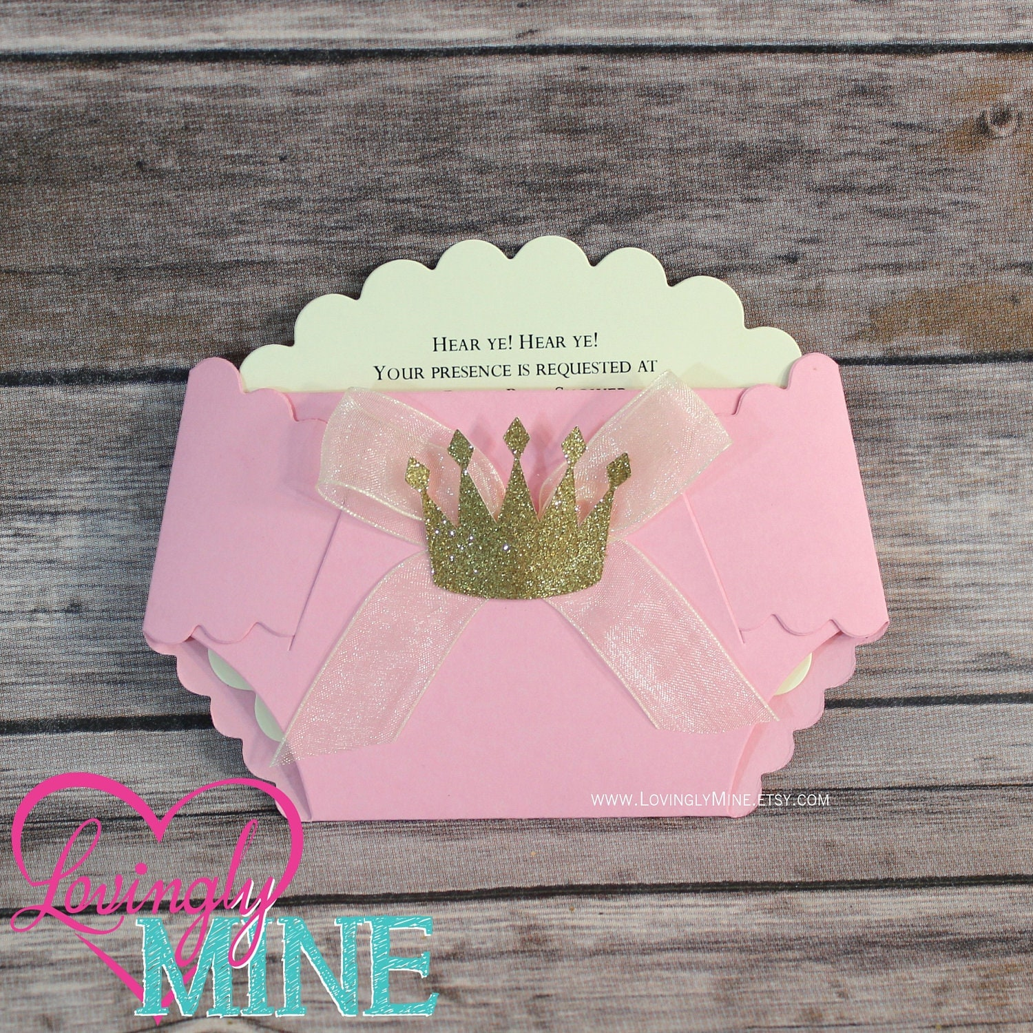 Princess Baby Shower Diaper Invitations in Baby Pink and