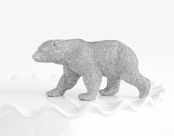 Polar Bear Cake Topper in Silver Glitter. Nursery Decor, Bridal or Baby Shower Decoration Wedding Tablescapes Winter Party Table Centerpiece