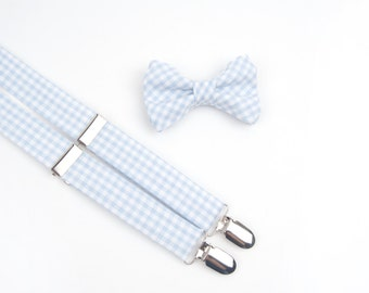 Baby Blue Gingham Bow Tie & Suspenders Set, blue bow tie, blue suspenders, blue check, boys bow tie, men's bow tie, men's suspenders, plaid