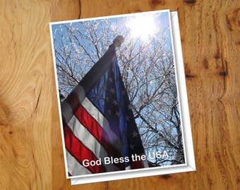 Note Cards ~ Personalized Stars and Stripes Cards with Envelopes, Fourth of July Cards, USA Flag, God Bless America, Military Stationery