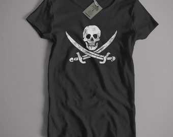 Old Skool Hooligans Pirate T shirt - Jolly Roger Skull & Crossbones S-5XL, Kids and Lady Fit Sizes Available