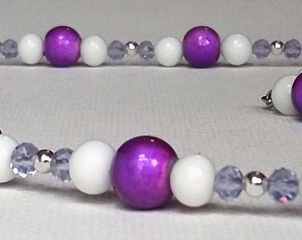 Bright Purple and White Beaded Necklace and Earrings Set