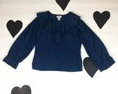 90s Royal Blue Silk Poet Blouse / Ruffle Neck / Princess Sleeves / Express / Romantic / 1990s / 90210 / Grunge / Ruffle Collar / Size M /