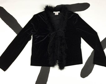 90s Black Velour / Velvet Long Sleeve Cardigan With Maribou Details / Feathers / Boa / Tie Neck / Tie Front / Clueless / Club Kid / Large