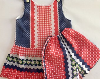 Vintage 1960s Girls' Cotton Voile Sleeveless Top and Shorts Set Red White Blue 6X 7