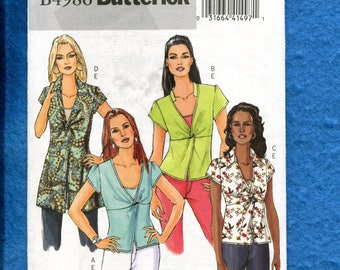 Butterick 4986 Modern Tops with Twist Size 16 to 22 UNCUT