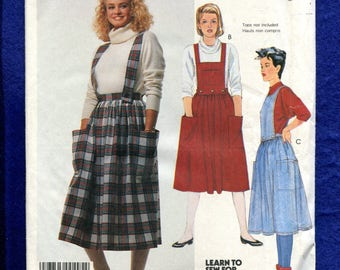 Vintage 1980's McCalls 2619 Dirdl Skirt with Detachable Bib & Suspenders Size 10 UNCUT