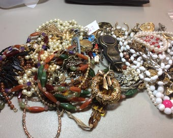 Free US SHIPPING vintage jewelry pins necklaces craft parts beads misc stuff over 1-1/2 lbs Lot C3