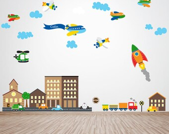 Planes Decal, Rocket Decal, Cars Decal, City Scene Buildings Decal, Ecofriendly No Toxins No PVCs Decals, WD800A