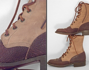 Brown COMBAT Boots Justin 1970s Two Tone Fits 6.5 to 7 Suede Leather