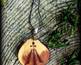 Yew Wood Awen Pendant No.2 - Witchcraft, Druid, Ovate, Wicca, Pagan