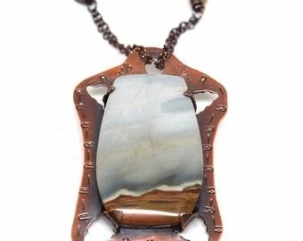 Ocean wave Necklace in Copper with Amazonite, Jasper and Aquamarine
