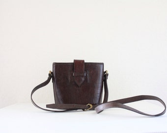 Vintage Raisin Rustic Leather Cross Body Handbag