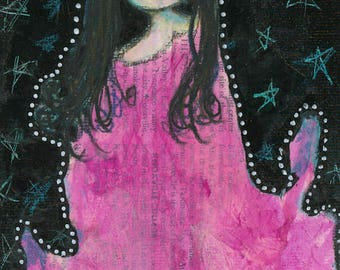 "Fine Art Print - ""She Lives"" - 8"" x 12"" -Playful Colorful Night, Stars, Pink Dress, Sweet Girl"