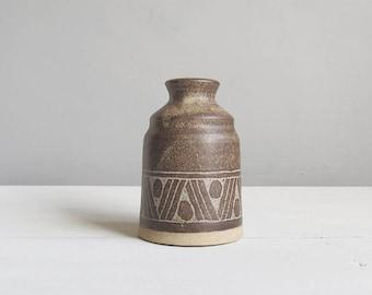 Rustic Pottery Vase - Geometric Pattern Rustic Vase - Stem Vase