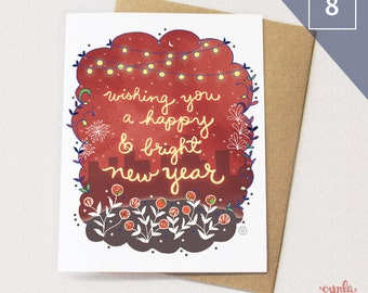 Bright Happy New Year Card SET of 8 - Holiday card, New years day, starry, city greeting card