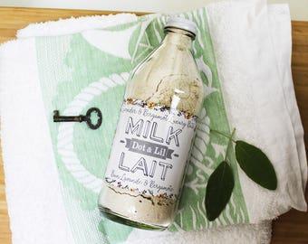 lavender & bergamot milk bath apothecary vintage-style bath soak in glass bottle