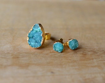 Green Druzy Earring and Ring Set