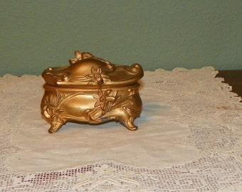 Antique Jennings Brothers Box Jewel Glove trinket Jewelry Casket Art Nouveau Flowers Victorian