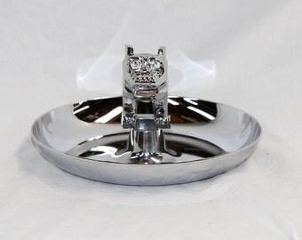 MAC Truck Bulldog Ashtray - Silver Metal Chrome Ashtray - Vintage 1960s