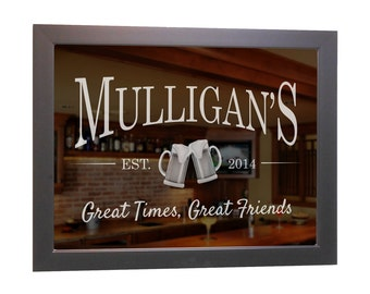 custom bar mirror beer mugs 18 x 24 w hardwood frame personalized bar mirror etched bar mirror basement bar mirror home bar mirror