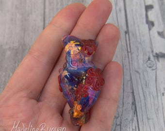 Pink, gold and Red Goddess Bead, Swirls and flowers Lampwork Focal Bead
