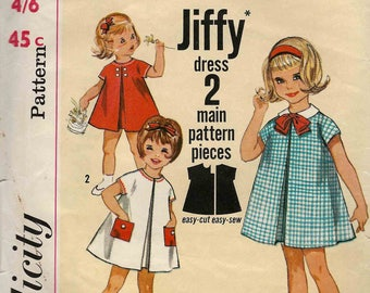 Simplicity 4872 Girl's dress smock pinafore inverted pleat optional collar and pockets Jiffy Size 5 complete