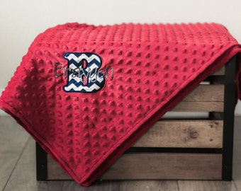 Personalized Baby Blanket, Minky Dot Red and Navy Chrevron, Baby Boy Monogrammed Gift