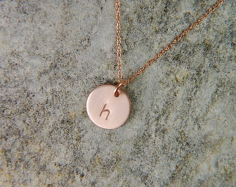Rose Gold Necklace 9 mm Gold Initial Necklace Dainty Rose Gold Necklace 14K Gold Necklace Baby Initial Necklace