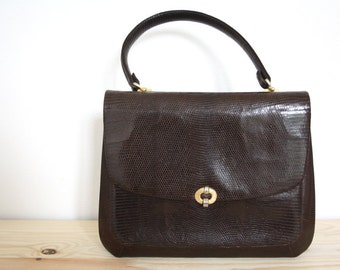 Vintage brown snake skin handbag // 50s python top handle bag