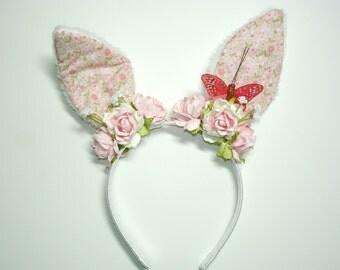 Bunny Headband,Easter,Easter Headband,Girl Headband,Lolita,Fairy kei,Harajuku,mori kei,Bunny Ears,Flower Headband,Gift For Her