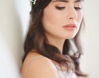 Willow Grecian Pearl Bridal Halo, Grecian Wedding Wreath, Silver Wedding Halo, Silver Wedding Headpiece, Wedding Circlet, Grecian Hair Vine