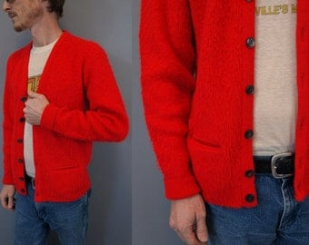 Vintage bright red orange monster furry grunge cardigan sweater size S or M