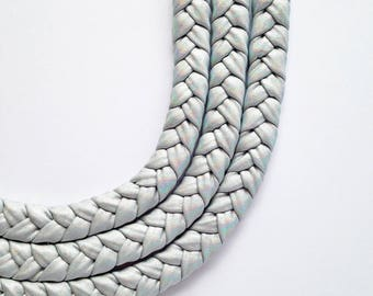 Holographic Choker, braided necklace, statement necklace, party necklace - The triple braid necklace - handmade with holographic fabric