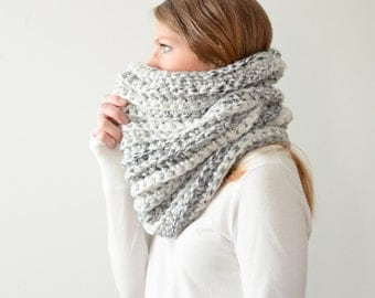 the HICKORY cowl - chunky ribbed cowl scarf neckwarmer - white marble