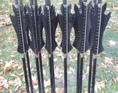 Custom Black Flame Arrows, Made To Order arrow set in your draw weight and length, dozen arrows, traditional wood archery arrows