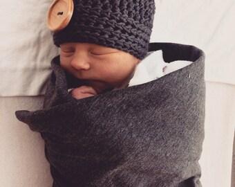 newborn hat, newborn baby hat, newborn boy hat, baby hat, baby boy hat, gray hat, grey baby hat
