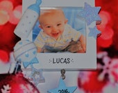 Personalized Baby Boy First Christmas Picture Frame Ornament