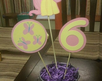 Fluttershy Centerpiece, My Little Pony Centerpiece with Number for Birthday Parties
